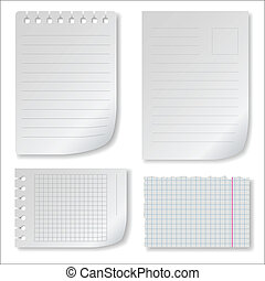 Note paper set with ragged squared and lined notepad pages