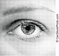 Halftone eye shape for backgrounds and design