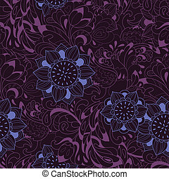Violet pattern with bird Phoenix and sunflower - Background...