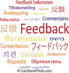 """Feedback in different languages. - Tag cloud: """"Feedback"""" in..."""