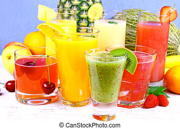 Fruit juice with kiwi, cherry, melon, tangerine, pear,...