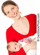Smiling middle-aged mother with a beautiful baby