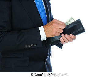 Businessman with Wallet - Closeup of a businessman wearing a...