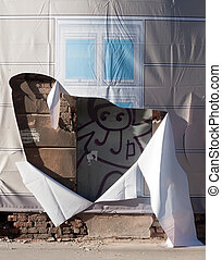 decorativo, pared, arruinado, cortina, casa