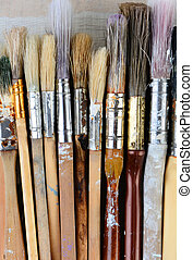 Closeup Used Paint Brushes - Closeup of used paint brushes....