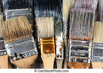 Used Paint Brushes - Closeup of used paint brushes...
