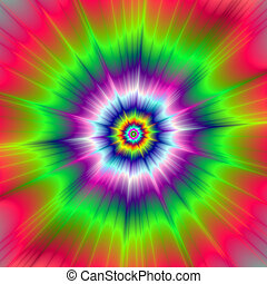 Explosive Tie-Dye - Digital abstract fractal image with a...