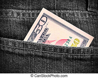 Fifty dollars in jeans pocket - Money in the pocket of jeans...