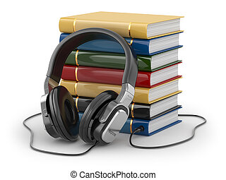 Audiobook concept. Headphones and books on white isolated...