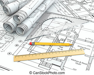 Concept of drawing. Blueprints and drafting tools. 3d
