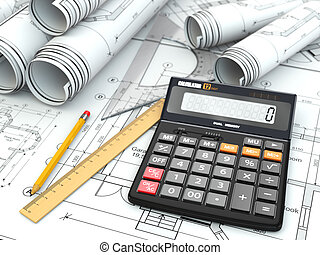 Concept of drawing Blueprints, drafting tools and calculator...