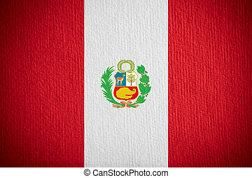 flag of Peru or Peruvian banner on paper background
