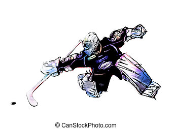 ice hockey goalkeeper illustration on white