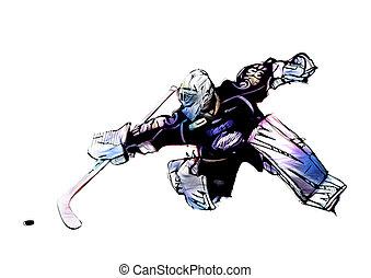 ice hockey goalkeeper illustration on white