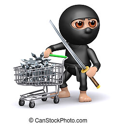 3d Ninja shopping - 3d render of a ninja shopping