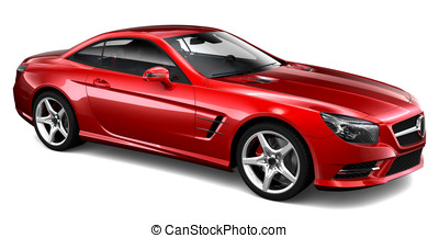 Red coupe on a white background