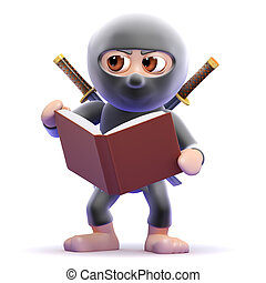 3d Ninja studies - 3d render of a ninja reading a book