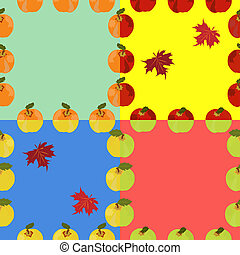 Seamless background of red, yellow, green apples