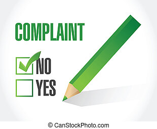 no complaints check mark selection illustration design over...