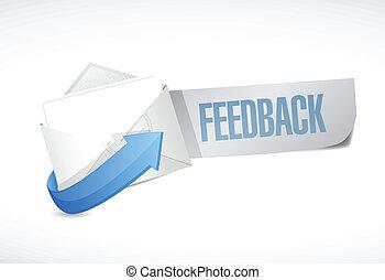 feedback envelope mail illustration design over a white...