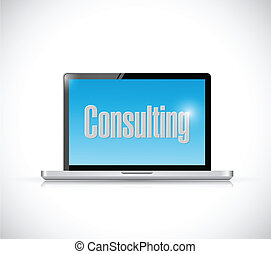 consulting message on a computer screen.