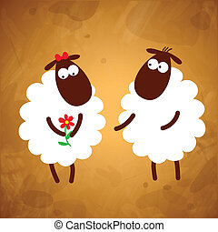 Funny sheep on a brown background