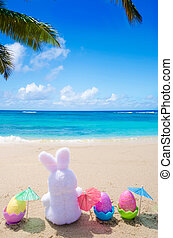 Easter bunny and color eggs on the beach - Easter bunny and...