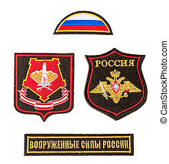 Armed forces of Russia patch over white background