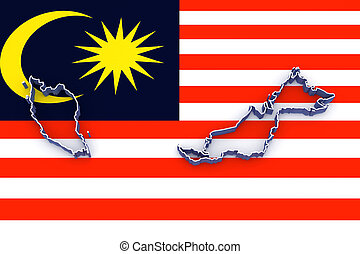 Map of Malaysia. 3d