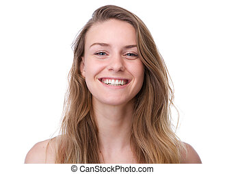 Young woman with long hair smiling - Close up portrait of a...