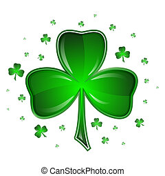 Shamrock vector illustration, isolated on white background....