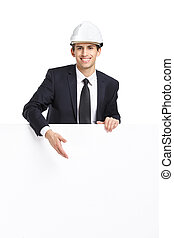 Business man pointing hand gestures at copyspace