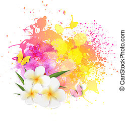 Abstract background with flowers and butterflies