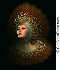 Fur! Computer Graphics - portrait of a lady with imaginative...