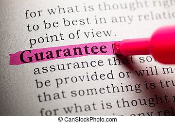 guarantee - Fake Dictionary, definition of the word...