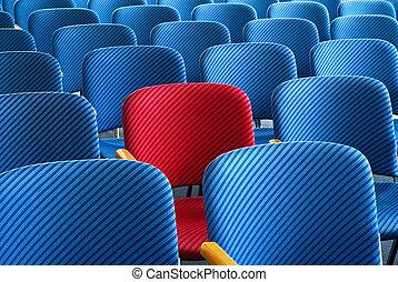 rouges, siège, debout, dehors