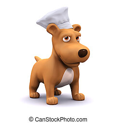 3d Chef puppy - 3d render of a dog wearing a chefs hat