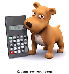 3d Calculating puppy - 3d render of a dog next to a...