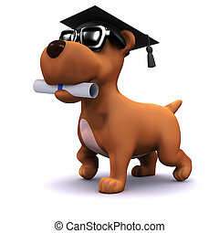 3d Graduate puppy - 3d render of a dog wearing a mortar...