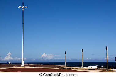 Fishermen and Lightpole on Pier at Beach - Lightpost and...