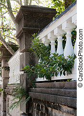 Charleston - Stone wall and fence in historic district...