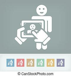 Touch device mobile photo portrait concept