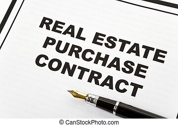 Real Estate Purchase Contract and pen, business concept