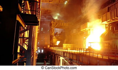 Blast furnace at an industrial plan
