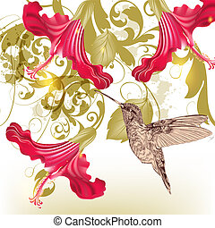 Floral vector background with humming bird and flowers -...