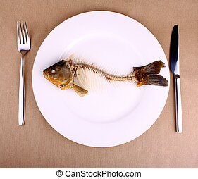 Complete bone of whole fish on plate, abstract - Abstract,...