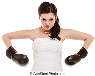 Wedding. Bride in boxing gloves. Emancipation. -...