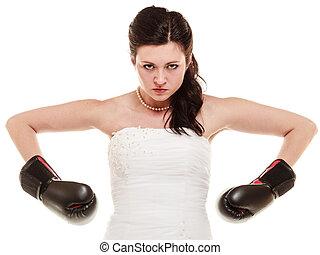 Wedding. Bride in boxing gloves. Emancipation. -...