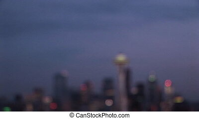 Seattle by Night - Seattle skyline at sunset, Seattle,...
