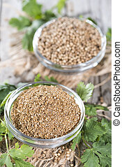 Rubbed Coriander - Small portion of rubbed Coriander...